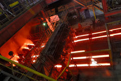 Continuous casting machine at steel works. Steel works, continuous casting machine Royalty Free Stock Photo
