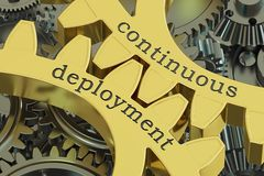 Continuous deployment concept on the gears, 3D rendering. Continuous deployment concept on the gears, 3D Stock Photo