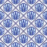 Continuous flower pattern in style Gzhel. Lattice and large blue flowers. A background for design. Stock Photos