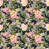 Seamless pattern of summer garden yellow and pink rose flower. Watercolor floral illustration on dark background. Continuous gentle blooming plant pattern vector illustration