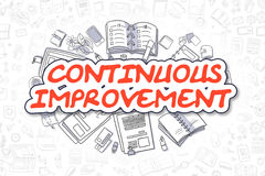 Continuous Improvement - Cartoon Red Text. Business Concept. Continuous Improvement Doodle Illustration of Red Word and Stationery Surrounded by Doodle Icons Stock Photo