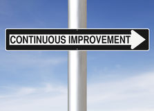 Continuous Improvement. Modified one way sign indicating Continuous Improvement royalty free stock photo