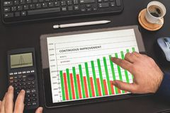 Continuous Improvement Report On Tablet Screen. Continuous Improvement Report On Digital Tablet Screen royalty free stock photo