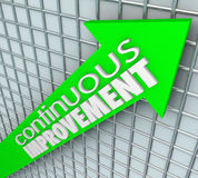 Continuous Improvement Words Arrow Chart Grid Moving Up. Continuous Improvement words on an arrow aiming upward to illustrate increasing sales, learning Royalty Free Stock Image