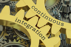 Continuous integration concept on the gearwheels, 3D rendering. Continuous integration concept on the gearwheels, 3D Stock Photography