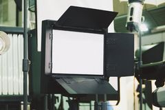 Continuous lighting . Video lighting. LED Video lighting stock photography