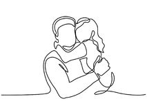 Happy young father with little daughter. Continuous Line Art Drawing. Happy young father hug little daughter. Vector Illustration vector illustration