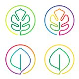 Continuous line art logo set of bright colorful flowers, leaves. Continuous line art logo set of bright colorful flower, leaf, lotus, monstera Royalty Free Stock Images