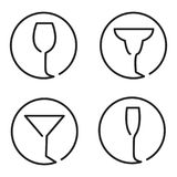 Continuous line art logo set of different glasses, wine, margari. Ta cocktail, martini, champaign Royalty Free Stock Photos