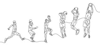 Continuous line basketball player step by step doing slam dunk stock illustration