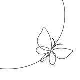 Continuous line butterfly. Continuous one line drawing. Flying butterfly logo. Black and white vector illustration. Concept for logo, card, banner, poster, flyer Royalty Free Stock Image