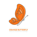 Continuous line butterfly with orange pattern on wings. Vector illustration. Stock Photos