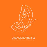 Continuous line butterfly White one line drawing on orange background. Continuous line butterfly with pattern on wings. Vector illustration. White one unbroken Royalty Free Stock Images
