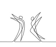 Continuous line drawing of abstract dancers. Vector illustration. Concept for logo, card, banner, poster, flyer Stock Photo