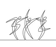 Continuous line drawing of abstract dancers. Vector illustration. Concept for logo, card, banner, poster, flyer Royalty Free Stock Photography