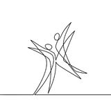 Continuous line drawing of abstract dancers. Vector illustration. Concept for logo, card, banner, poster, flyer Stock Photos