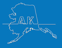 Continuous line drawing of Alaska state Royalty Free Stock Images