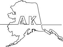 Continuous line drawing of Alaska state Stock Photo