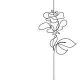 Continuous line drawing of beautiful flower. Continuous one line drawing. Flying bird logo. Black and white vector illustration. Concept for logo, card, banner Royalty Free Stock Photos