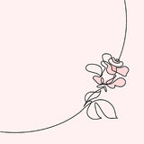 Continuous line drawing of Beautiful rose logo. Continuous one line drawing. Beautiful rose logo. Tender colors vector illustration. Concept for logo, card Stock Photography