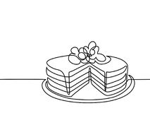 Continuous line drawing of big cake. Vector illustration black line on white background Royalty Free Stock Images