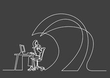 Continuous line drawing of business concept - office worker under waves of work stock illustration