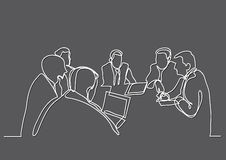 Continuous line drawing of business meeting. Continuous line drawing - isolated layered easy-edit vector illustration in EPS10 format Stock Images