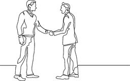 Continuous line drawing of business people meeting handshake. Continuous line drawing - isolated layered easy-edit vector illustration in EPS10 format royalty free illustration
