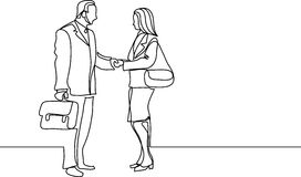 Continuous line drawing of business people meeting handshake. Continuous line drawing - isolated layered easy-edit vector illustration in EPS10 format Royalty Free Stock Photography