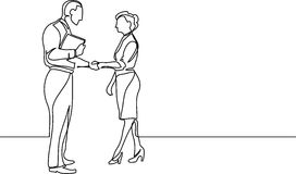 Continuous line drawing of business people meeting handshake Stock Images