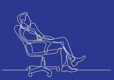 Continuous line drawing of business situation - man sitting in office chair thinking stock illustration