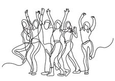 Continuous line drawing of cheering crowd. Vector linear illustration royalty free illustration
