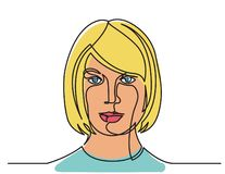 Continuous line drawing of confident woman portrait on white background. Flat vector illustration royalty free illustration