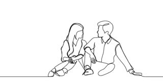 Continuous line drawing of a couple sitting and taking conversation. Romantic concept vector illustration. Cute Continuous line drawing of a couple sitting and stock illustration