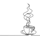 Continuous line drawing of cup of coffee Royalty Free Stock Images