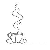Continuous line drawing of cup of coffee Stock Photography
