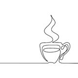 Continuous line drawing of cup of coffee Stock Photos