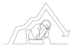 Continuous line drawing of depressed man sitting on chair with declining graph. Vector linear monochrome style illustration royalty free illustration