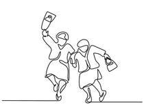 Elderly women friends walking. Continuous line drawing. Elderly women friends walking and dancing. Vector illustration royalty free illustration