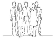 Continuous line drawing of four business professionals standing confident. Vector linear monochrome illustration royalty free illustration