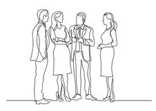Continuous line drawing of group of business professionals standing discussion. Vector linear monochrome illustration vector illustration