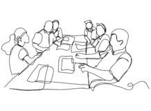 Continuous line drawing of a group of friends Enjoying a line dancing vector illustration. Workers stock illustration