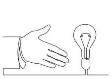 Continuous line drawing of hand showing light bulb or idea metap. Continuous line drawing - isolated layered easy-edit vector illustration in EPS10 format Royalty Free Stock Images
