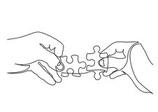 Continuous line drawing of hands solving jigsaw puzzle. Vector linear illustration royalty free illustration