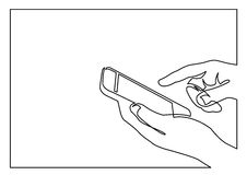 Continuous line drawing of hands using smartphone Royalty Free Stock Photos