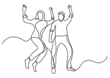 Continuous line drawing of happy couple of man and woman vector illustration