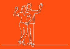Continuous line drawing of happy couple waving hello. Vector linear illustration royalty free illustration