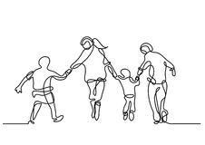 Continuous line drawing of happy family running. Continuous line drawing - isolated layered easy-edit vector illustration in EPS10 format Royalty Free Stock Photography