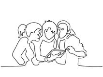 Happy friends browsing electronic tablet. Continuous line drawing. Happy friends browsing electronic tablet Royalty Free Stock Photo