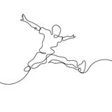 Continuous Line Drawing. Happy Jumping Man Royalty Free Stock Image